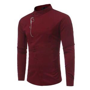 New-Mens-Long-Sleeve-Shirt-Blouse-Cotton-Slim-Casual-Tee-Tops-Shirts-Fashion