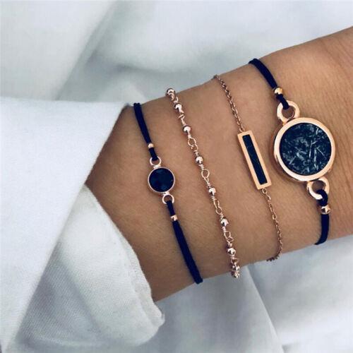 4Pcs Boho Multilayer Natural Stone Crystal Bangle Beaded Bracelet Jewelry Set