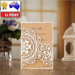 Details About 10x Rustic Vintage Laser Cut Wedding Invitation Card W Envelop Bulk Disc Apply