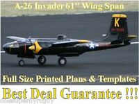 A-26 Invader 61 Giant Scale Rc Airplane Full Size Printed Plans & Templates