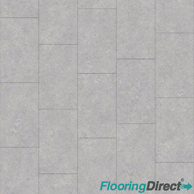 Light Grey Tile Effect Vinyl Flooring