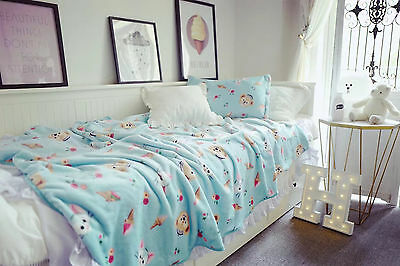 DUFFY navy bear coral fleece blanket bed blankets pillowcover pillowcase quilt