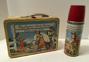 1953 ROY ROGERS & DALE EVENS DOUBLE R BAR RANCH LUNCH BOX SET - MINT CONDITION
