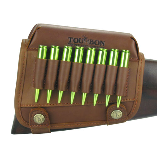 Tourbon Real Leather Rifle Cartridge Holder Buttstock Cheek Rest Pad for Rem 700