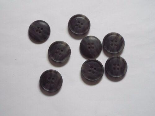 8pc 20mm Dark School Grey Wood Effect Coat Suit Cardigan Knitwear Button 5099