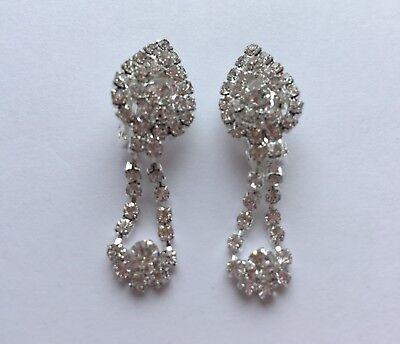 Pair Long Dangle Silver /& Black Stone Clip On Earrings Diamante Non Pierce E100