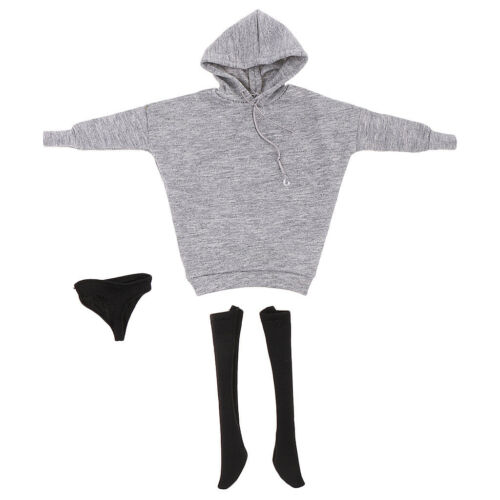 1//6 Hoodie Hoody Sweatshirt+Stocking Socks+Briefs for 12/'/' CY CG Girls Gray