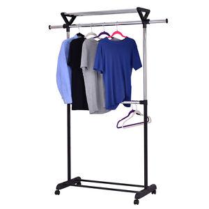2 Rod Garment Rack Adjustable Clothes Hanger Rolling Closet w/ Top Shelf Chrome