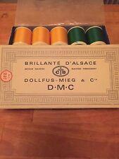 mercerie ancienne- boite de 10 bobines de fil brillanté d'alsace DMC