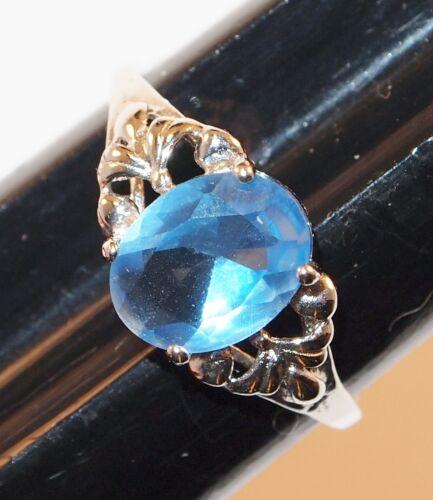 Vintage Light Blue /& Gold Tone Prong Set Flower Ring Adjustable Size Worn Dark Patina