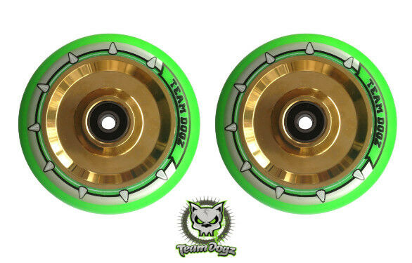 2x Team Dogz Neon Green Chrome gold Scooter Wheels 110mm Alloy Hollow Solid Core