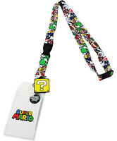 Nintendo Super Mario Brothers Lanyard Sticker Id Holder & Question Mark Charm