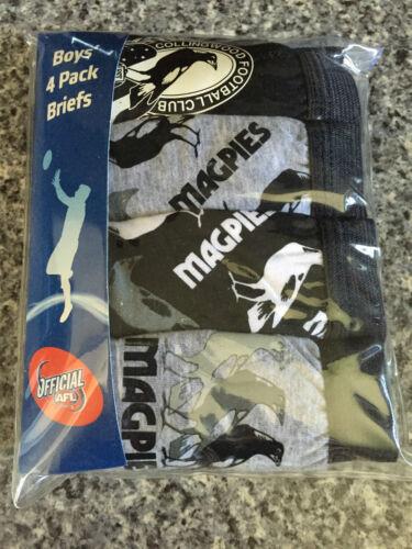 BNIP Boys Sz 4-6 Pack of 4 AFL Collingwood 100/% Cotton Classic Briefs Underpants
