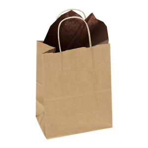 5.25 x 3.25 x 8.5 Small Kraft Brown Paper Shopping Gift Bags with Rope Handles