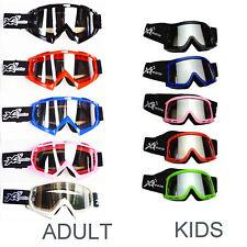 ADULT OR KIDS Goggles for Motocross Dirt Helmet Quad Moto Bike COLOURS ###
