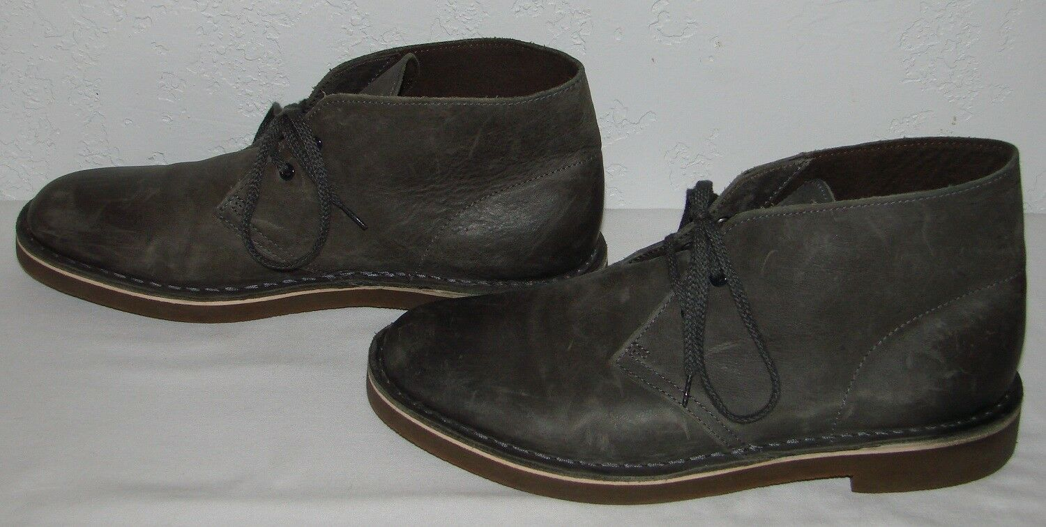 Clarks Mens Bushacre Grey Leather Chukka Boots 15522 Size 8
