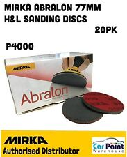 "Mirka Abralon Ø 77mm 3"" 4000 Grit Velcro Sanding Foam Machine Disc/Pad 20's"