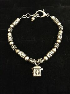Vintage-Sterling-Silver-Bracelet-Prayer-Box-Charm-Cross-Barrel-Beads-Deco-8-039-039