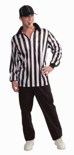 Referee Adult Black and White Costume Shirt and Hat Standard Size Adult