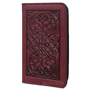 Celtic-Hounds-Wine-Leather-Checkbook-Cover-by-Oberon-Design-COMBINED-SHIPPING