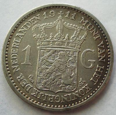 SCARCE NETHERLANDS 1911 GULDEN KEY DATE COIN HIGHER GRADE GOOD DETAIL KM# 148