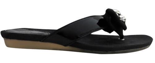 New NIB Coach Sylvia Embellished Crystal Flip Flop Slides Sandal Signature Black