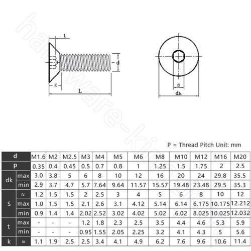 M10 Senkkopfschrauben Innensechskant Edelstahl A4 Flat Socket Head Screws M3
