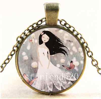 Vintage Pretty White Girl Photo Cabochon Glass Bronze Pendant  Necklace