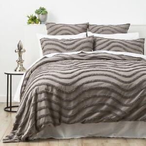 Park Avenue Wave 100% Cotton Chenille Vintage washed tufted Quilt cover Set Grey