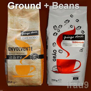 2 Coffee Arabica & Robusta Ground + Beans Portuguese Full bodied 2x 250g