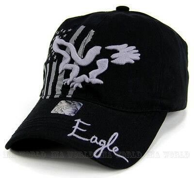 USA American Flag hat Stars-Stripes Eagle embroidered Cotton Baseball cap- Black