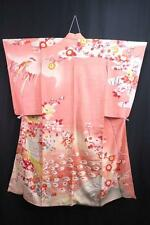 08a6515 Silk Vintage Houmongi Japanese kimono Robe Dress Peacock