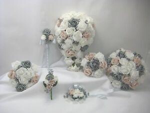 Wedding Bouquets White Blush Nude Pinkgrey Silver Posy Bride