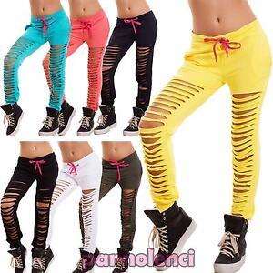 Pantaloni-donna-tuta-fitness-sport-polsini-strappi-tagli-ripped-nuovi-CJ-2019