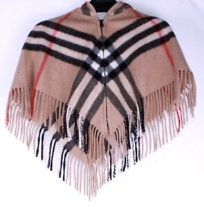 Genuine-Burberry-Girls-Hooded-Wool-Cashmere-Classic-Check-Zip-Poncho-Cape-M-3-6Y