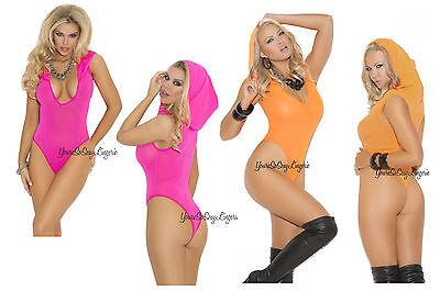 Sexy NEON TEDDY Deep-V  HOODED OPAQUE Hot Pink Orange Leotard BODYSUIT Full Back