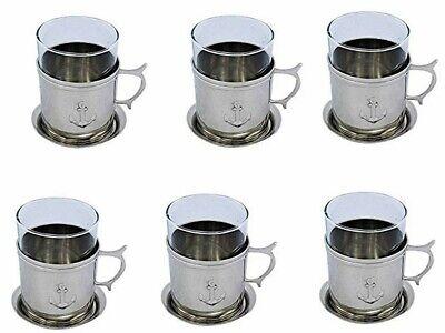 maritim Glas//Tee Glas Messing und Glas mit Untersetzer Grog
