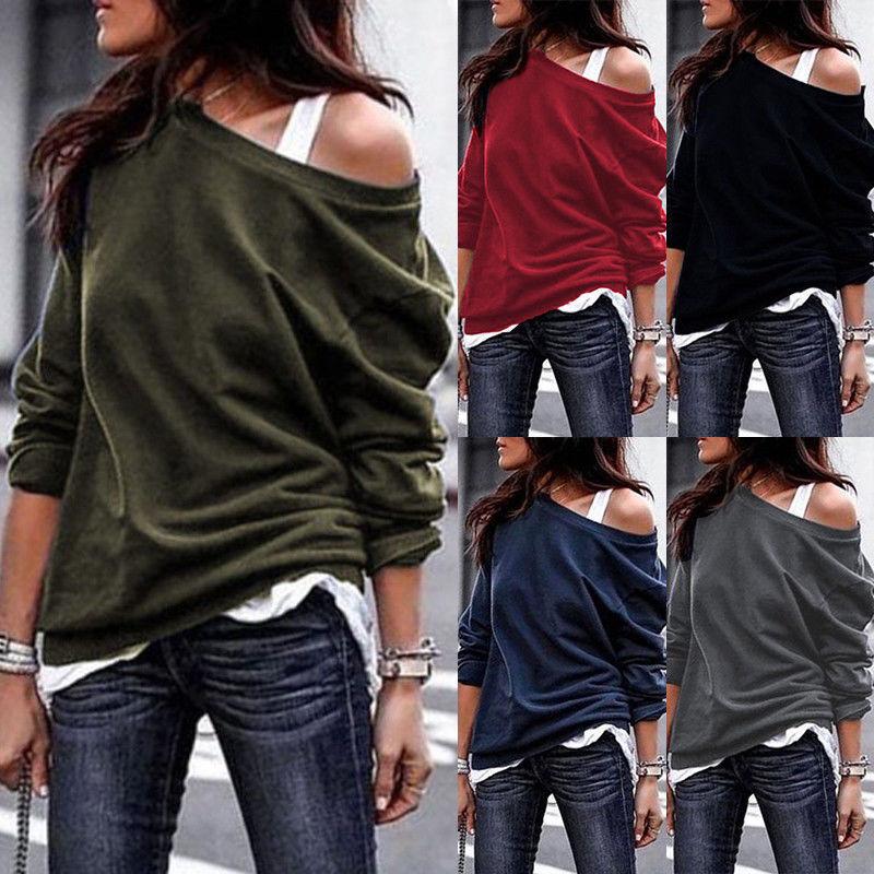 Damen Eine Schulter Pullover Pulli Sweatshirt Jumper Tops Langarm Blusen Longtop