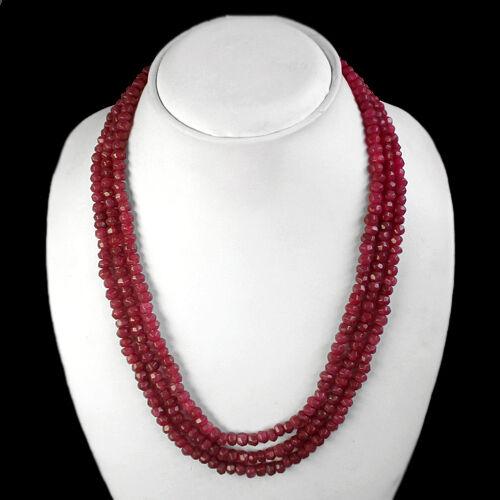 TOP EXCLUSIF Qualité 373.50 cts Natural 3 Strand à facettes rouge collier de rubis $ $ $