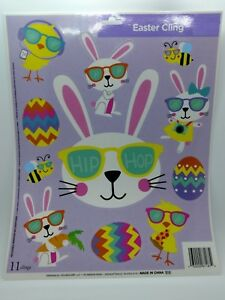 Easter Spring Day Window Decoration Cling Reusable Hip Hop Bunnies