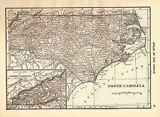 1917 Antique NORTH CAROLINA Map State Map of North Carolina  smap 3721