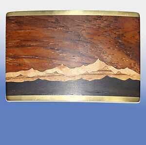 Vintage Handcrafted SW CUBA Belt Buckle Wood Mountain Inlay Brass Back, signed