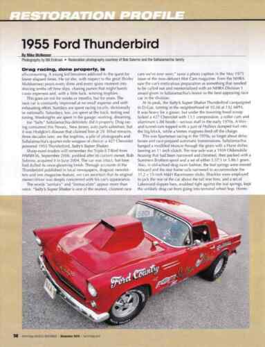 1955 FORD THUNDERBIRD DRAG RACING NICE 6PAGE RESTORATION ARTICLE AD