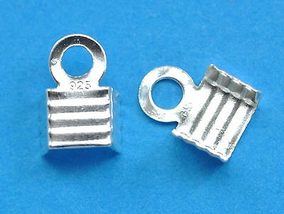 2x 6mm Sterling Silver Flat Necklace Cord Ends Jewellery Making Findings