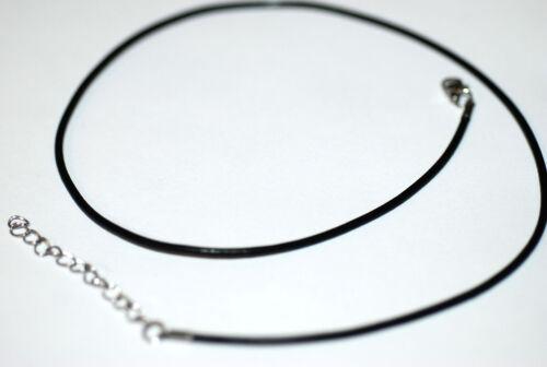 Cordon cuir rond avec fermeture acier inoxydable 2-3 mm Large 44 cm long