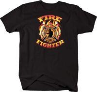 Tshirt -firefighter Emblem Flaming Red Line First Responder