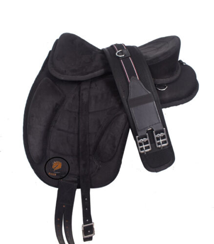 """New Synthetic All Purpose Treeless Saddle  BLACK  pony 12/"""" free Girth ON OFFER"""