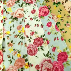 Floral-Summertime-Rose-Heads-And-Buds-100-Cotton-Poplin-Fabric