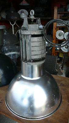 Lampe Industrielle MAZDA 1970 Suspension Métal Tôle émaillée Atelier Usine