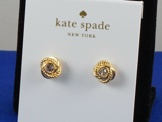 a4f0fa4af Kate Spade Gold INFINITY & BEYOND Crystal Love Knot Stud Earrings WBRUC355